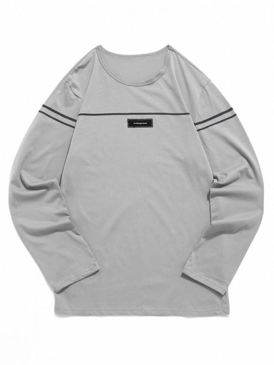 Camiseta de manga larga con estampado de rayas de Applique - Gris Oscuro M