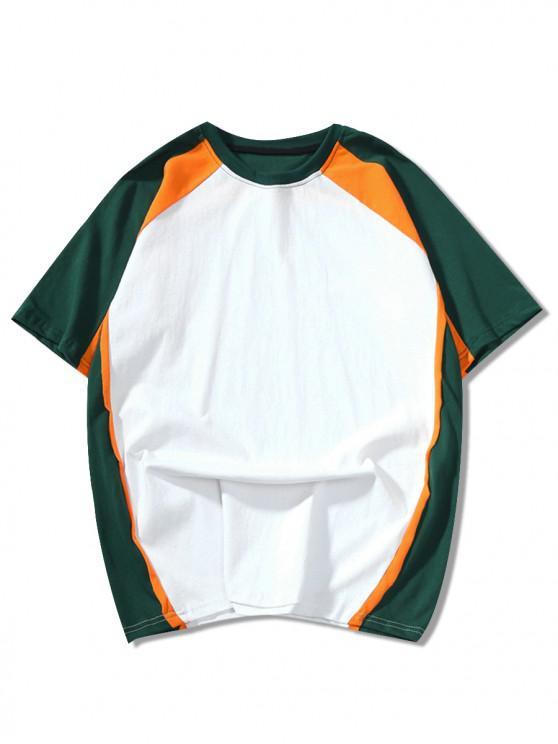online Color Block Panel Raglan Sleeves T-shirt - MEDIUM SEA GREEN L