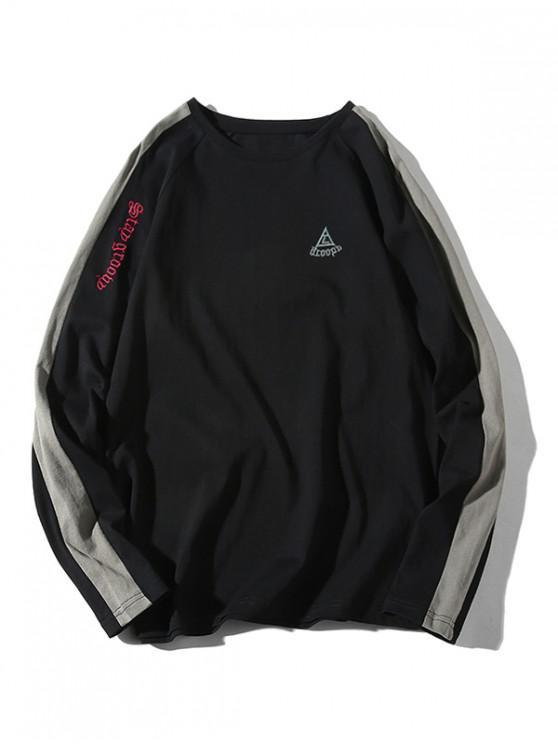 Camiseta Bloque Color Raglan Sleeevs - Negro 3XL