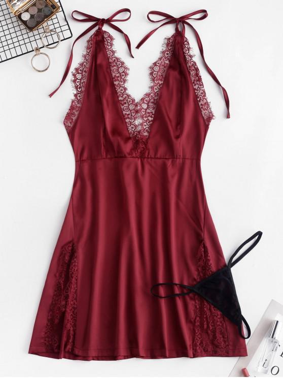 ladies Lace Insert Self Tie Slit Babydoll - RED WINE M
