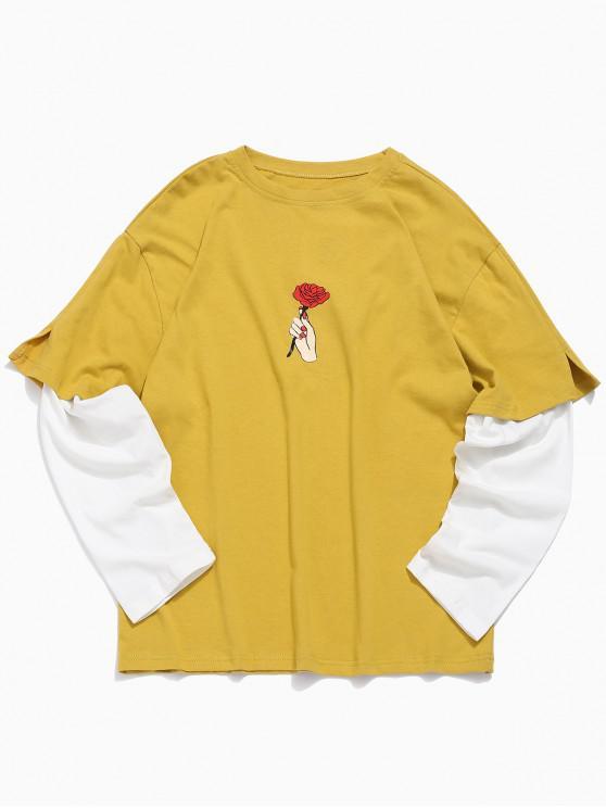 latest Rose Print False Two Piece T-shirt - GOLDEN BROWN M