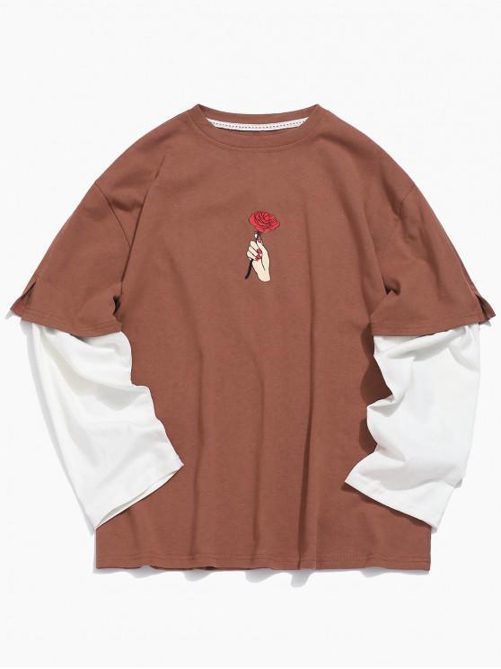 outfit Rose Print False Two Piece T-shirt - SEPIA M