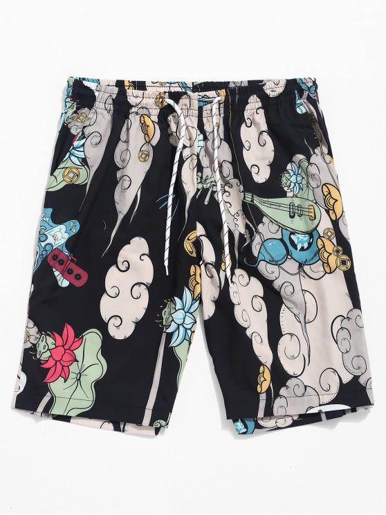 lady Animal Flower Music Print Drawstring Shorts - MULTI M