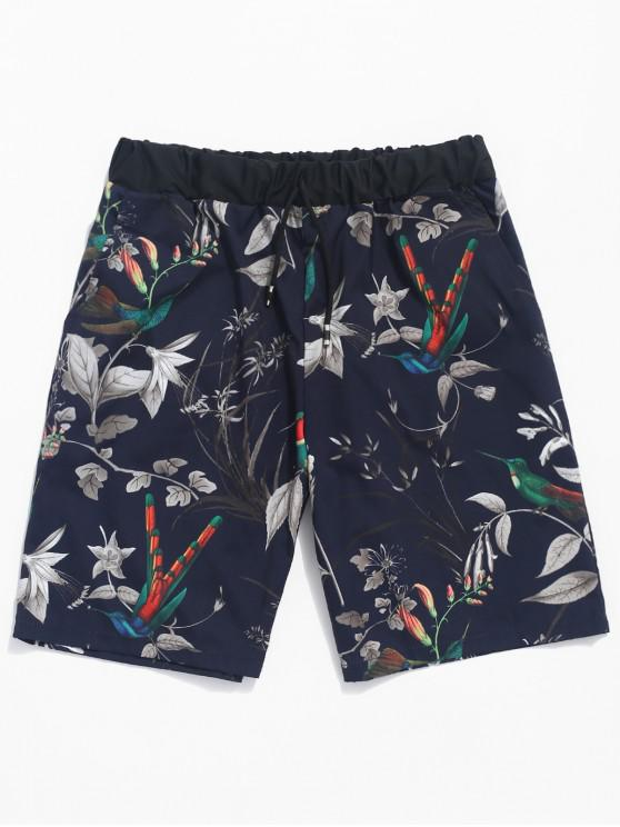 latest Plant Leaves Birds Print Beach Shorts - MIDNIGHT BLUE S