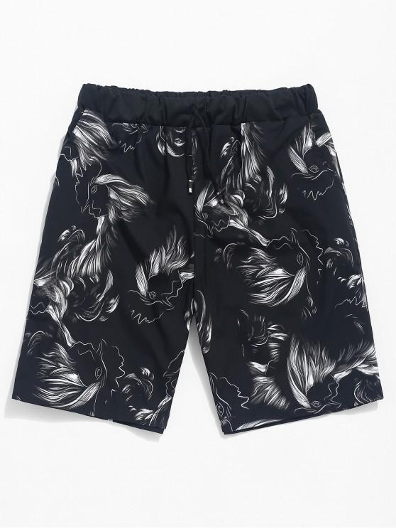 sale Abstract Fowl Drawing Print Casual Shorts - BLACK L