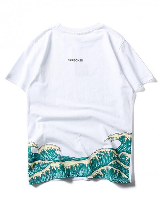 ladies Sea Waves Print Applique Short Sleeves T-shirt - WHITE S