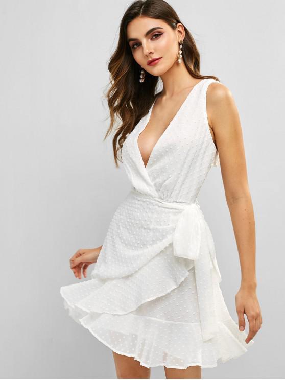 best Knotted Open Back Ruffles Mini Dress - WHITE S
