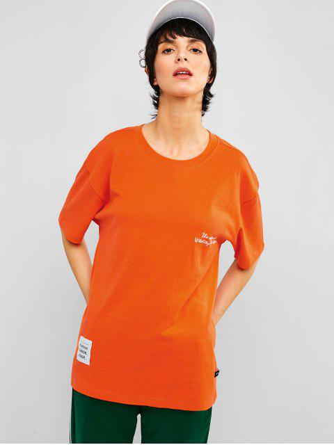 Camiseta de neón de túnica estampada con hombros caídos - Mango Naranja L Mobile