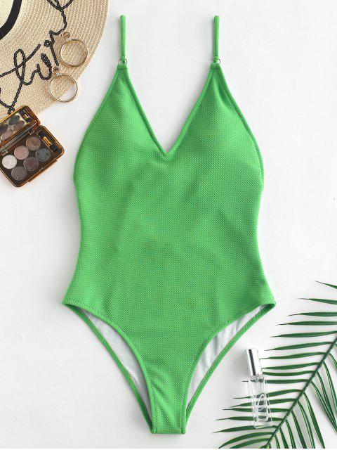 hot ZAFUL Textured Cami Backless Swimsuit - GREEN ONION M Mobile