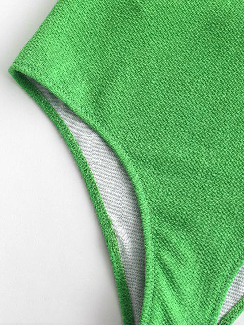 outfits ZAFUL Textured Cami Backless Swimsuit - GREEN ONION XL Mobile