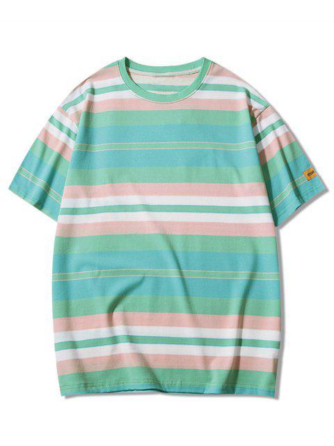 Camiseta de manga corta con estampado de rayas - Azul Verde Guacamayo  M Mobile