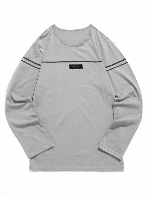 women's Applique Striped Print Long Sleeves T-shirt - DARK GRAY M Mobile
