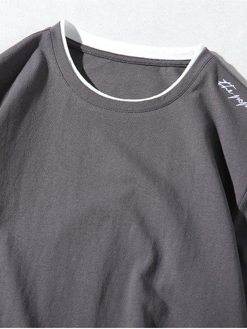 Applique Letters imprimir Panel Hem camiseta casual - Gris XS Mobile