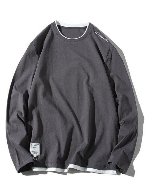Applique Letters imprimir Panel Hem camiseta casual - Gris S Mobile