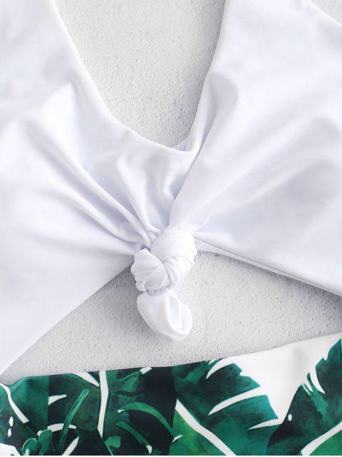 Costume da bagno con foglia di palma ZAFUL Knot - Bianca L Mobile