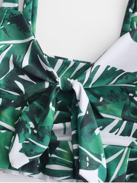 ZAFUL  Verknotetes Palme- Blatt -Tankini-Set mit Hoher Taille - Mittleres Meer Grün S Mobile