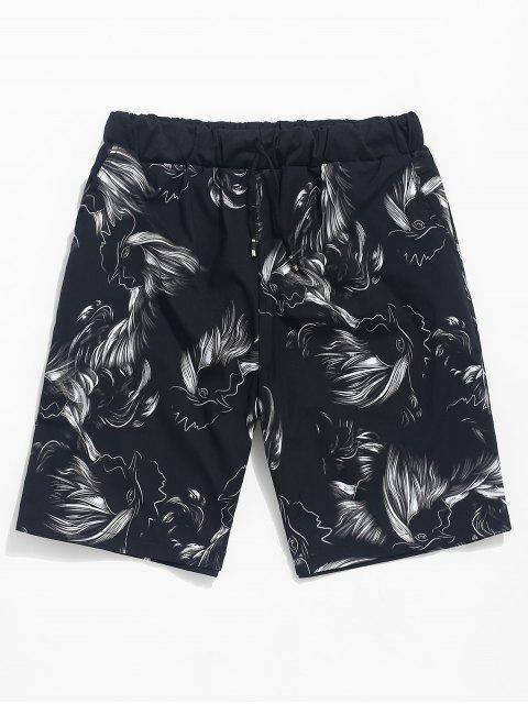 Resumen de dibujos animados de aves imprimir pantalones cortos casuales - Negro L Mobile