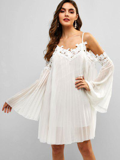 a8141e9f078 Crochet Panel Cold Shoulder Tunic Dress - White L
