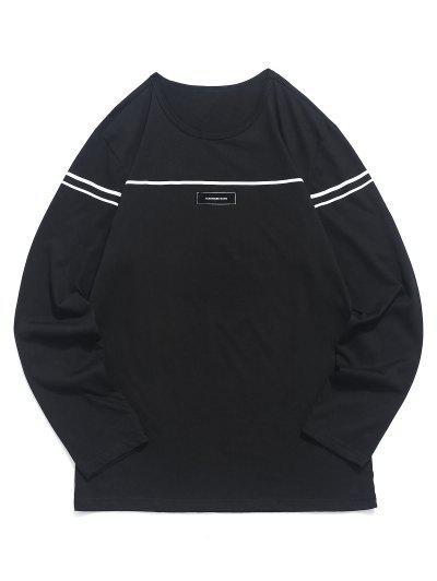 ff668b434fe T-shirt De Mangas Compridas Com Estampado Listrado Applique - Preto S NOVO