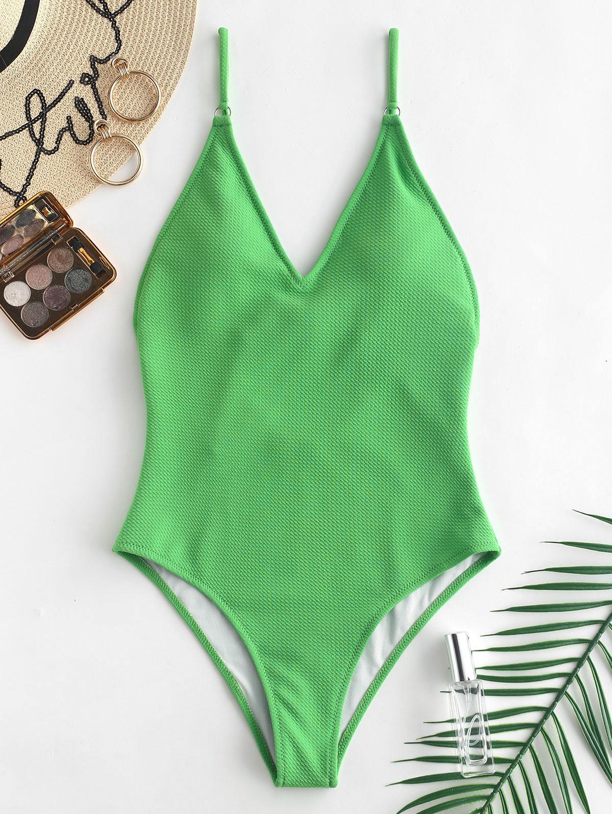 ZAFUL Textured Cami Backless Swimsuit фото