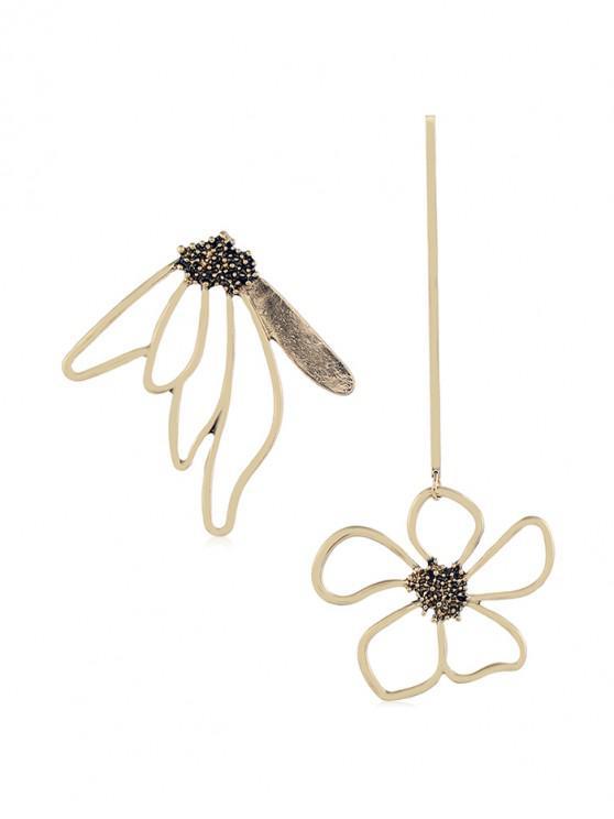 latest Flower Butterfly Shape Hollow Earrings - GOLD