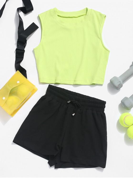 hot ZAFUL Ribbed Crop Top and Drawstring Shorts Set - TEA GREEN M