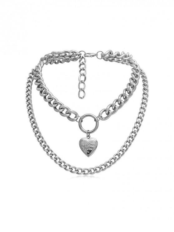 shops Heart Link Chain Layers Necklace - SILVER