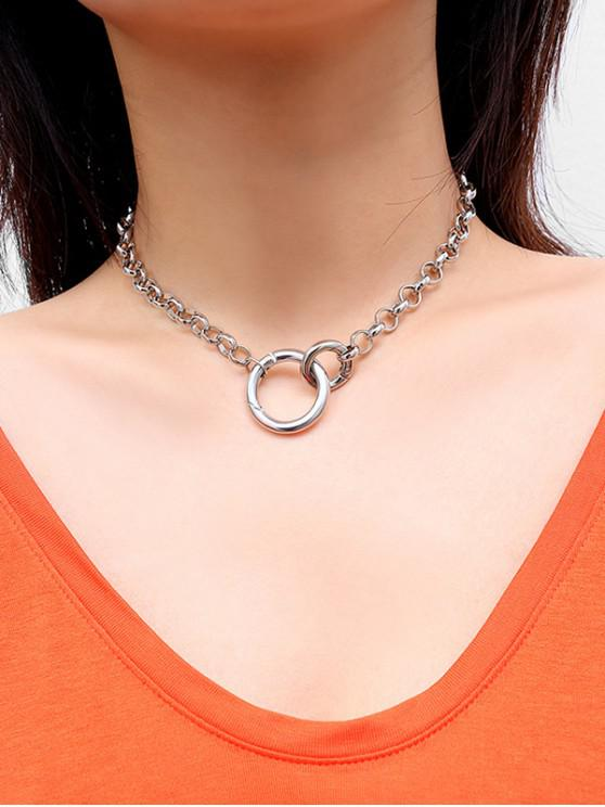 outfit Circle Link Chain Clavicle Necklace - SILVER