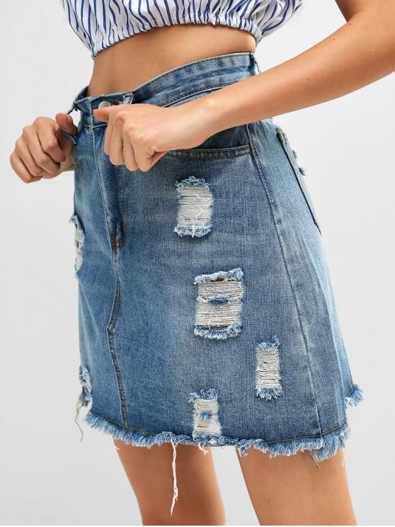 trendy Ripped Frayed Short Denim Skirt - BLUE GRAY L