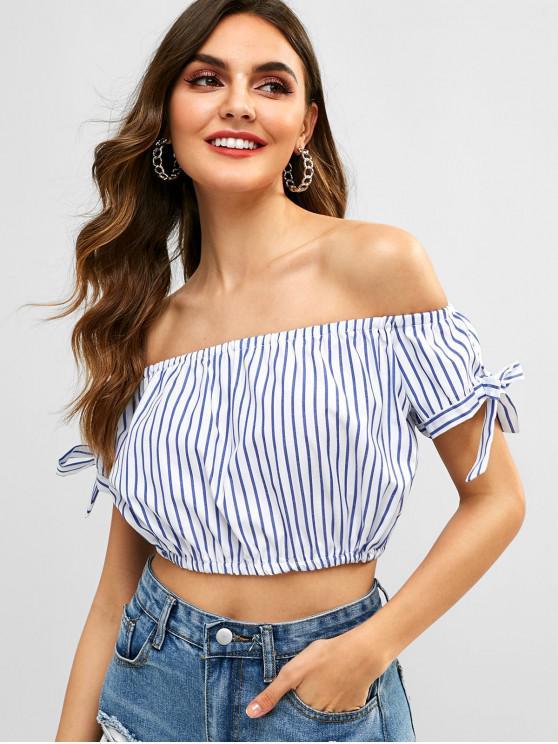 fashion Knots Off Shoulder Stripes Top - BLUEBERRY BLUE S