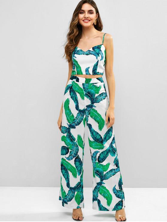 lady Palm Print Crop Top and Wide Leg Pants Set - MULTI L