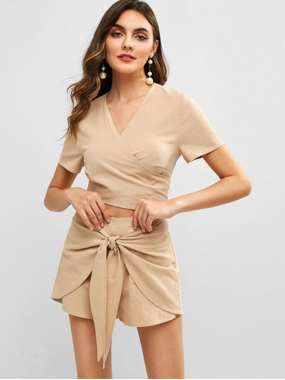 shops ZAFUL Cropped Tie Front Top And Shorts Set - BLANCHED ALMOND L