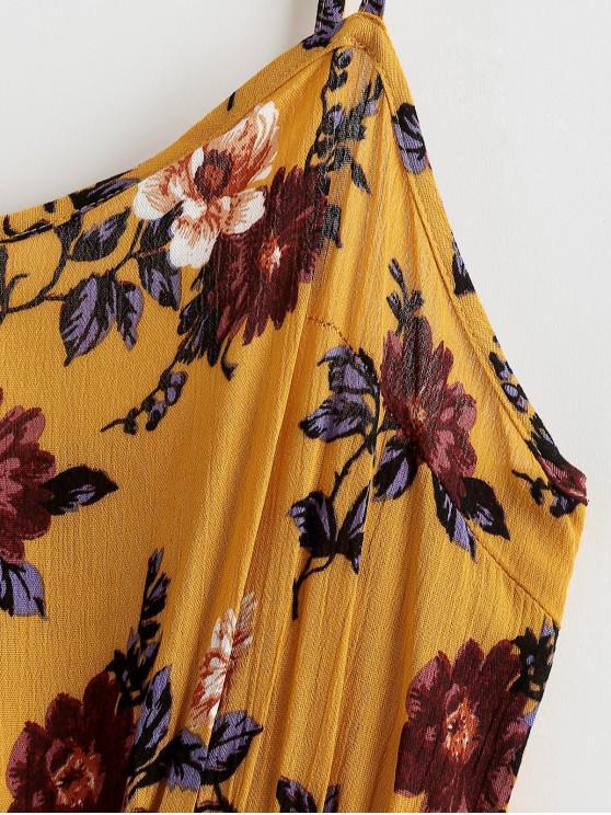 Ligne L À Fleurie Zaful PocheJaune Robe A Bretelle D'abeille Avec j54ALR