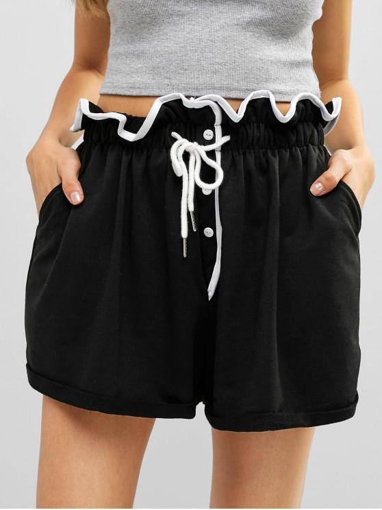 lady Ruffle Button Embellished Wide Leg Shorts - BLACK M