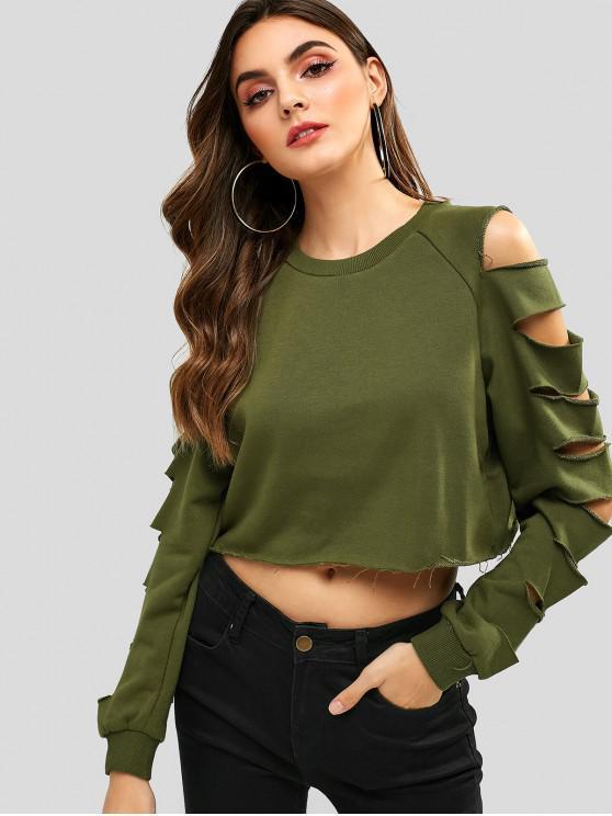 fashion Raw Hem Cutout Cropped Sweatshirt - ARMY GREEN M