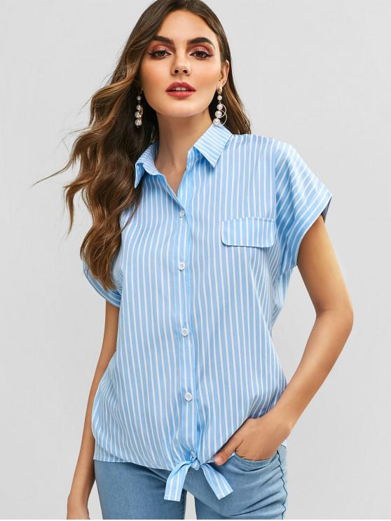 best Striped Tie Front Shirt - SKY BLUE M