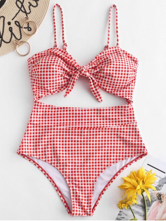 chic ZAFUL Gingham Knot Cut Out Swimsuit - LAVA RED L
