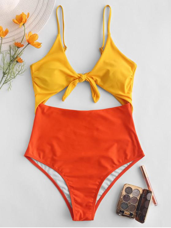 latest ZAFUL Color Block Tied Cami Monokini Swimsuit - MULTI-A M