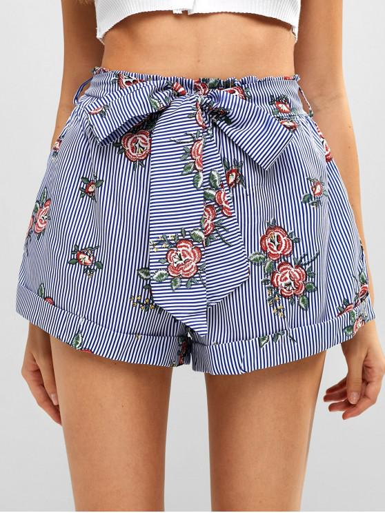 hot Belted High Waisted Floral Striped Shorts - MULTI L