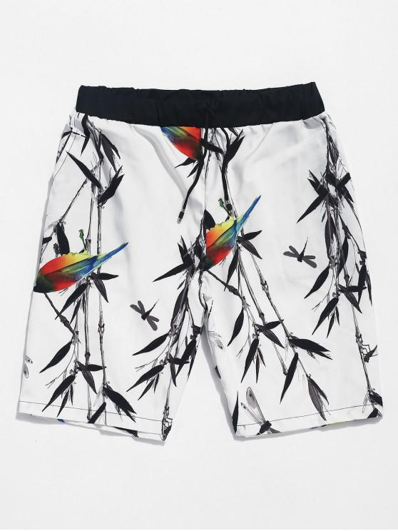 affordable Dragonfly Bamboo Bird Print Casual Shorts - WHITE M