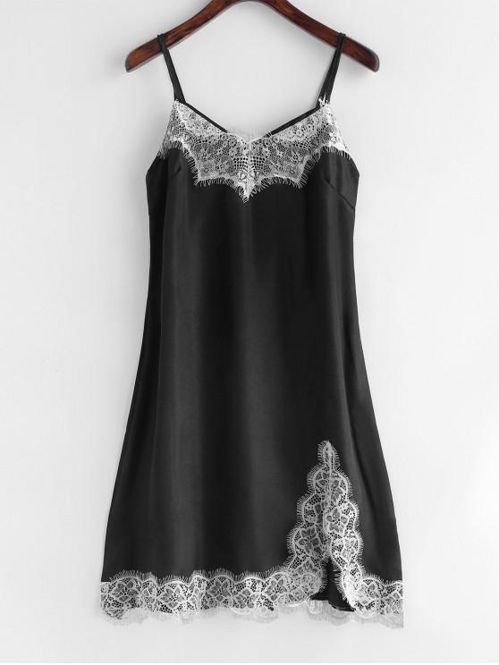Vestido de pijama de satén con abertura de encaje - Negro S