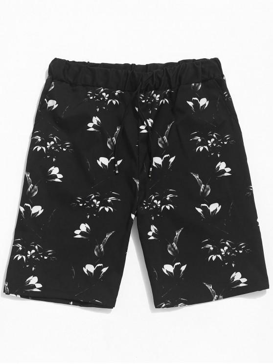 shops Floral Print Casual Beach Shorts - BLACK L
