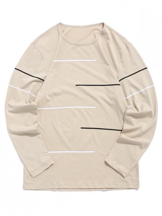 best Loose Striped Print Long Sleeves T-shirt - TAN L