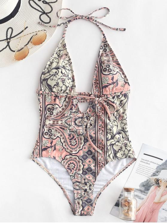 buy ZAFUL Flower Paisley Backless Swimsuit - MULTI-A M