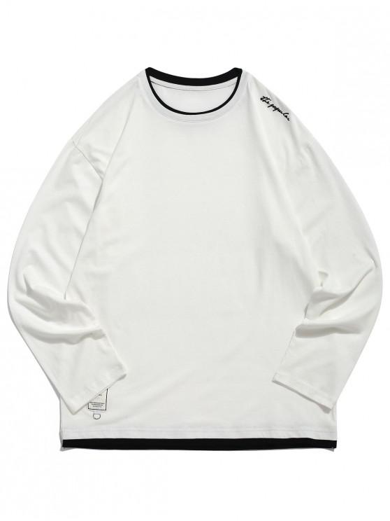 fashion Applique Letters print Panel Hem Casual T-shirt - CRYSTAL CREAM L