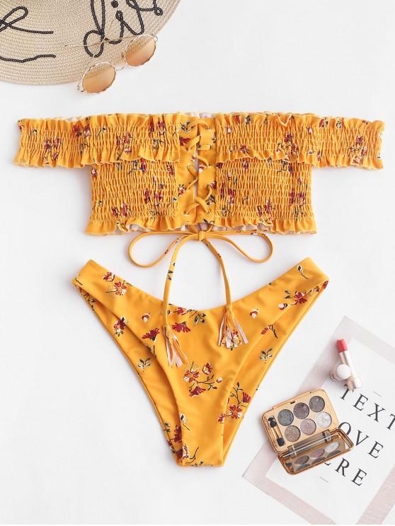 ZAFUL Bikini de hombro fruncido con cordones floral - Marrón Dorado S