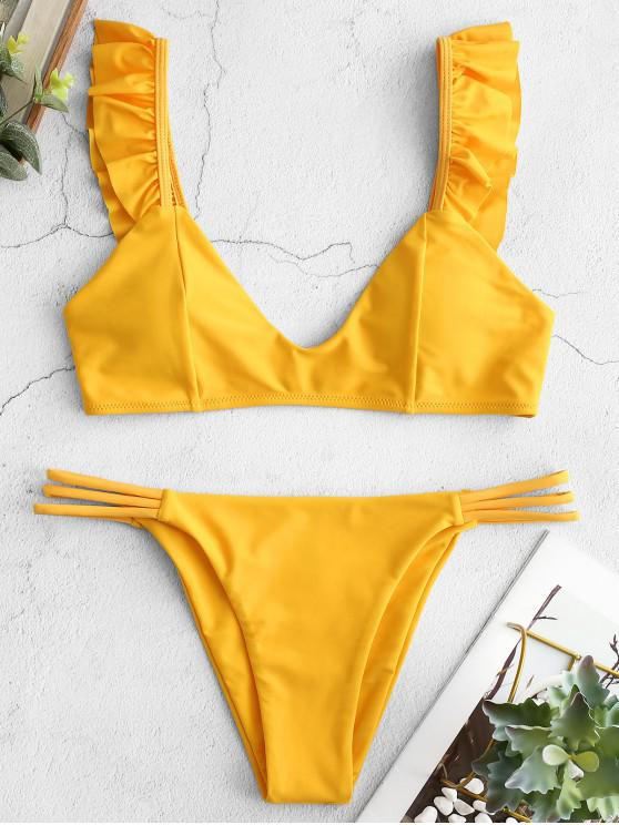 lady ZAFUL Ruffle Lattice Bikini Set - RUBBER DUCKY YELLOW M