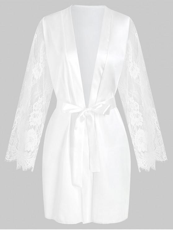outfits Lace Sleeve Satin Kimono Robe - WHITE S