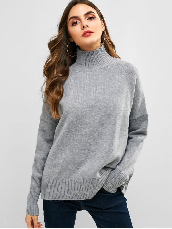 outfits Turtleneck Oversized Jumper - GRAY ONE SIZE