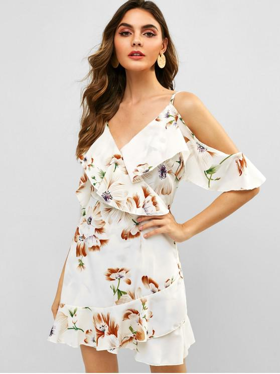 trendy ZAFUL Floral Ruffles Cold Shoulder Dress - WHITE M